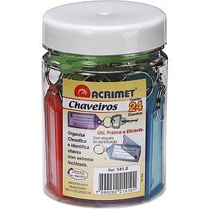 Chaveiro C/24 + 24 Etiquetas Cores Acrimet