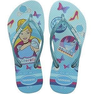 Chinelo Havaianas Infantil Princesas Slim Kids 31/2 Azul Havaianas