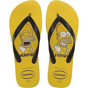 Chinelo Havaianas Masculino Simpsons 37/8 Amarelo Ouro Havaianas