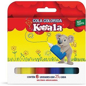 Cola Colorida Koala Com 06 Cores 25G Delta