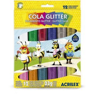 Cola Com Glitter Tubo 23G. 12 Cores Sortidas Acrilex