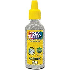 Cola Com Glitter Tubo 23G. Prata Acrilex