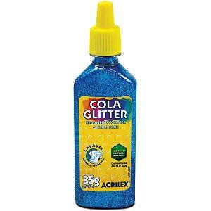 Cola Com Glitter Tubo 35G. Azul Acrilex