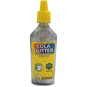 Cola Com Glitter Tubo 35G. Prata Acrilex