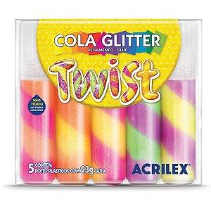 Cola Com Glitter Twist Estojo Com 5 Cores 23G. Acrilex