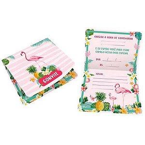 Convite De Aniversário Flamingo R582 C/8Un Regina Festas