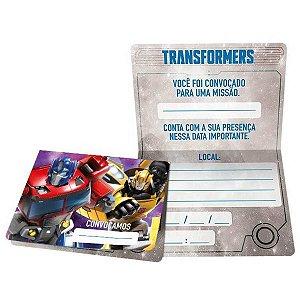 Convite De Aniversário Transformers R593 C/8Un Regina Festas