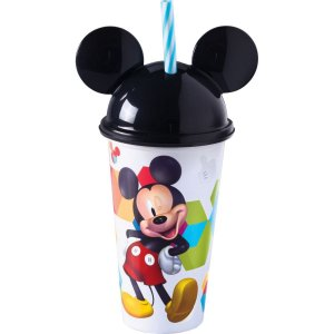 Copo Decorado Mickey C/canudo 500Ml. Plasutil