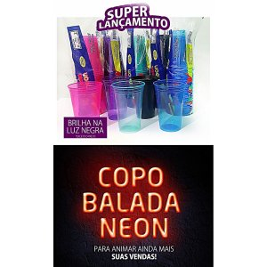 Copo Descartavel 330Ml. Neon Balada Azul Rioplastic
