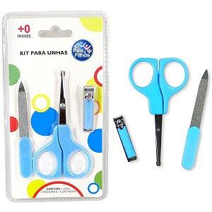 Cortador De Unha Kit Infantil Azul P/unhas Pais E Filhos