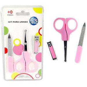 Cortador De Unha Kit Infantil Rosa P/unhas Pais E Filhos