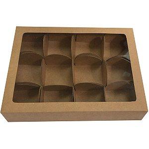 Embalagem Para Alimentos Trufas Kraft 17,3X13X3Cm 12For Cristina