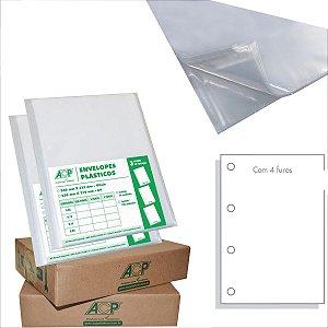 Envelope Plástico Ofício 4Furos 0,20Mm Acp