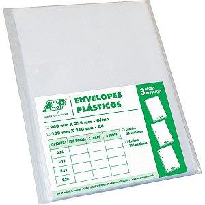 Envelope Plástico Ofício 4Furos Medio 0,10Mm Acp