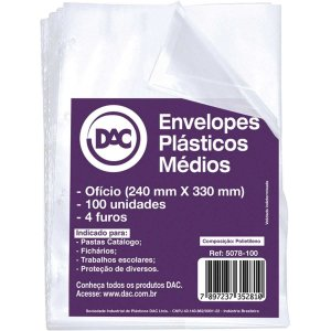 Envelope Plástico Ofício 4Furos Medio 0,10Mm Dac