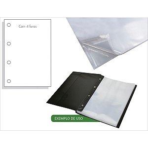 Envelope Plástico Ofício 4Furos Medio 0,12Mm Acp