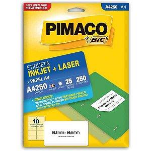 Etiqueta A4 A4250 25 Fls 55,8 X 99,0 Mm Pimaco