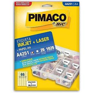 Etiqueta A4 A4251 25 Fls 21,2 X 38,2 Mm Pimaco