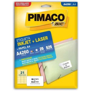 Etiqueta A4 A4260 25 Fls 38,1 X 63,5 Mm Pimaco