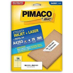 Etiqueta A4 A4263 25 Fls 38,1 X 99,0 Mm Pimaco