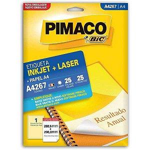 Etiqueta A4 A4267 25 Fls 288,5 X 200,0 Mm Pimaco