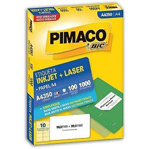 Etiqueta A4 A4350 100 Fls 55,8 X 99,0 Mm Pimaco