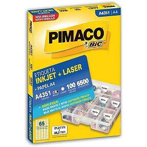 Etiqueta A4 A4351 100 Fls 21,2 X 38,2 Mm Pimaco