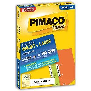 Etiqueta A4 A4354 100 Fls 25,4 X 99,0 Mm Pimaco