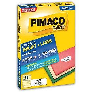 Etiqueta A4 A4356 100 Fls 25,4 X 63,5 Mm Pimaco