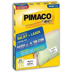 Etiqueta A4 A4360 100 Fls 38,1 X 63,5 Mm Pimaco