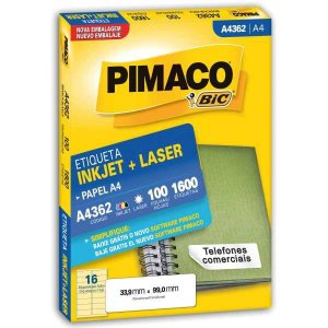 Etiqueta A4 A4362 100 Fls 33,9 X 99,0 Mm Pimaco