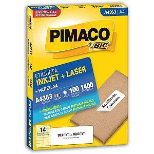 Etiqueta A4 A4363 100 Fls 38,1 X 99,0 Mm Pimaco