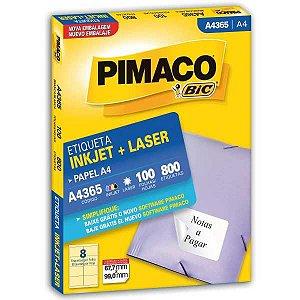 Etiqueta A4 A4365 100 Fls 67,7 X 99,0 Mm Pimaco