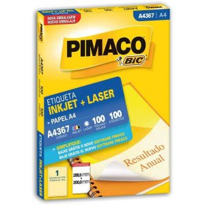 Etiqueta A4 A4367 100 Fls 288,5 X 200,0 Mm Pimaco