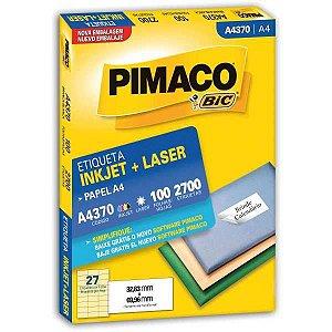 Etiqueta A4 A4370 100 Fls 32,83 X 69,96 Mm Pimaco