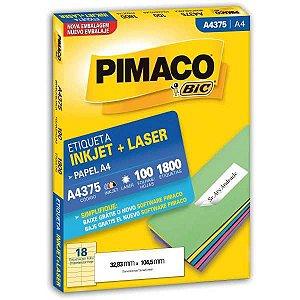 Etiqueta A4 A4375 100 Fls 32,83 X 104,5 Mm Pimaco