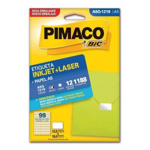 Etiqueta A5 A5Q-1219 12 Fls 12,0 X 19,0 Mm Pimaco