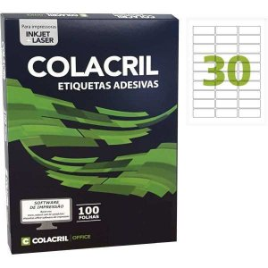 Etiqueta Carta 25,4X66,7Mm 100 Folhas Colacril