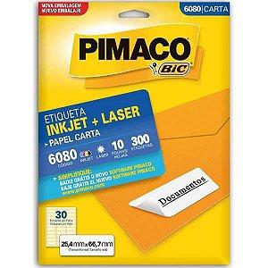 Etiqueta Carta 6080 10 Fls 25,4 X 66,7 Mm Pimaco