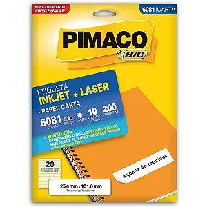 Etiqueta Carta 6081 10 Fls 25,4 X 101,6 Mm Pimaco