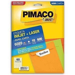 Etiqueta Carta 6089 10 Fls 16,93 X 44,45 Mm Pimaco