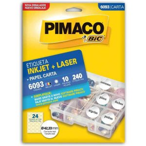 Etiqueta Carta 6093 Redonda 10 Fls 42 Mm Pimaco