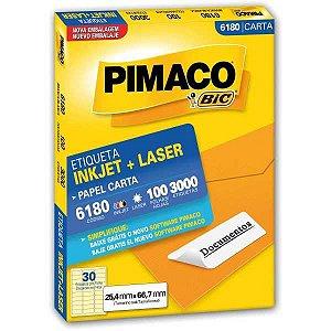 Etiqueta Carta 6180 100 Fls 25,4 X 66,7 Mm Pimaco
