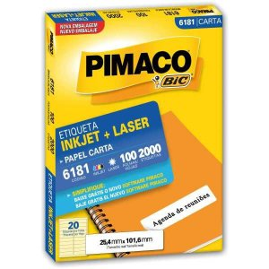 Etiqueta Carta 6181 100 Fls 25,4 X 101,6 Mm Pimaco