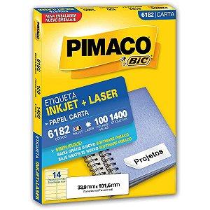 Etiqueta Carta 6182 100 Fls 33,9 X 101,6 Mm Pimaco