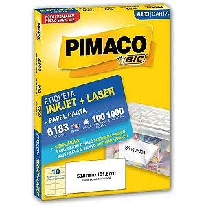 Etiqueta Carta 6183 100 Fls 50,8 X 101,6 Mm Pimaco
