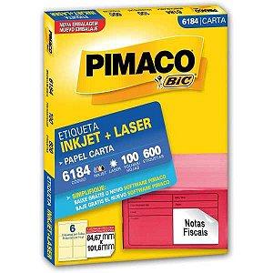 Etiqueta Carta 6184 100 Fls 84,67 X 101,6 Mm Pimaco