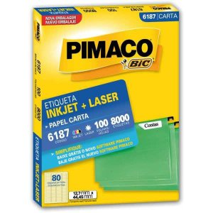 Etiqueta Carta 6187 100 Fls 12,7 X 44,45 Mm Pimaco