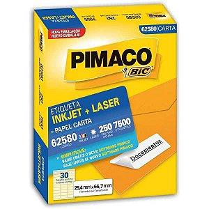 Etiqueta Carta 62580 250 Fls 25,4 X 66,7 Mm Pimaco