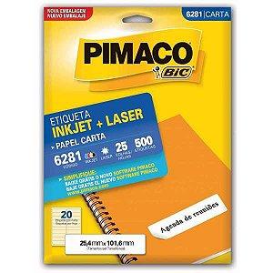Etiqueta Carta 6281 25 Fls 25,4 X 101,6 Mm Pimaco